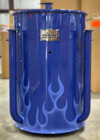 light blue ghost flames on a ryal blue drum