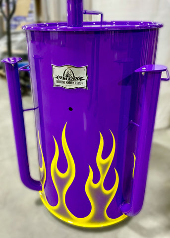 yellow ghost flames on a bright purple drum
