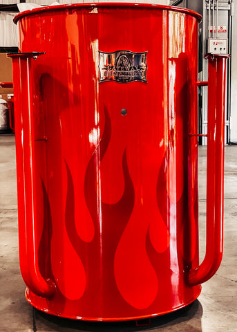 dark red solid flames on bright red drum