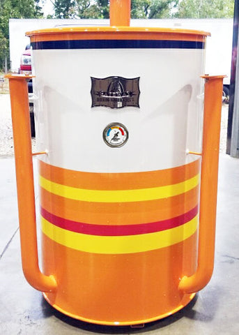 orange,yellow,and white striped drum (front)