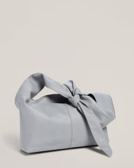 Side shot of Tie Top Tote in Grey
