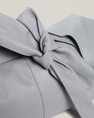 Detail of tie on the Tie Top Tote in Grey