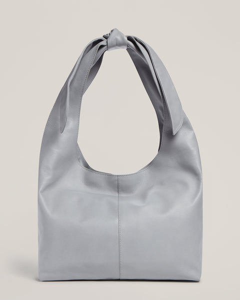 Front shot of Tie Top Tote in Grey