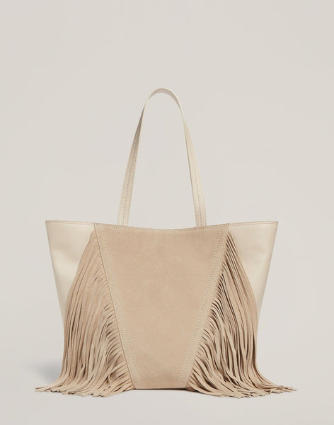 Front shot of the Cascade Fringe Tote in Vanilla