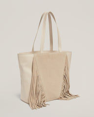 Side shot of Cascade Fringe Tote in Vanilla