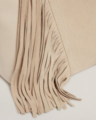 Fringe detail on the Cascade Fringe Tote in Vanilla