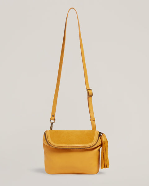 Front shot of Convertible Fringe Belt Bag in Saffron