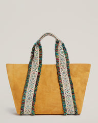 Front shot of  Italian Canvas Tote in Saffron