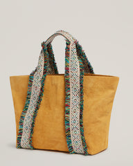 Side shot of  Italian Canvas Tote in Saffron