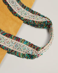 Detail shot of  Italian Canvas Tote in Saffron