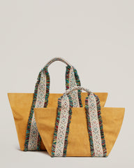 Italian Canvas Mini Tote in Saffron and the Italian Canvas Tote in Saffron