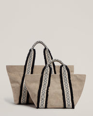 Italian Canvas Tote in Natural and the Italian Canvas Mini Tote in Natural