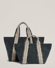 Italian Canvas Tote in Charcoal and the Italian Canvas Mini Tote in Charcoal