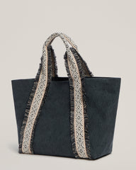 Side shot of Italian Canvas Tote in Charcoal