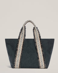 Front shot of Italian Canvas Tote in Charcoal