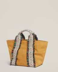 Side shot of Italian Canvas Mini Tote in Saffron