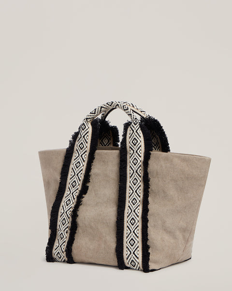 Side shot of Italian Canvas Mini Tote in Natural