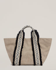 Front shot of Italian Canvas Mini Tote in Natural