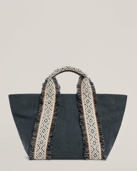 Front shot of Italian Canvas Mini Tote in Charcoal