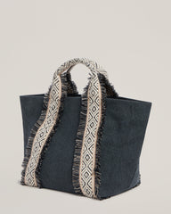 Side shot of Italian Canvas Mini Tote in Charcoal