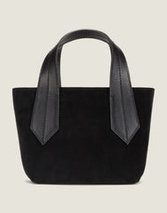FRONT SHOT OF THE TAB TOTE MINI BLACK SUEDE