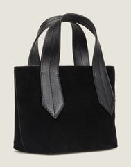 SIDE SHOT OF THE TAB TOTE MINI IN BLACK SUEDE