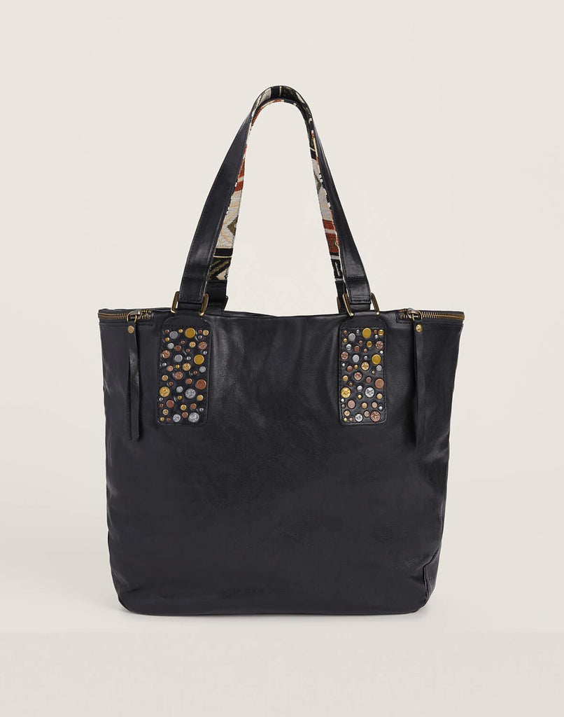 Front shot of Hammered Stud Tote in Black