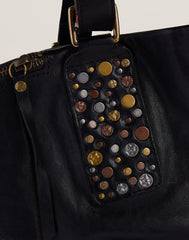 Stud Detail shot of Hammered Stud Tote in Black