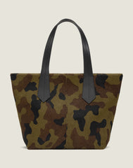 FRONT SHOT OF THE TAB TOTE IN CAMO HAIR CALF