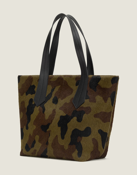 SIDE SHOT OF THE TAB TOTE IN CAMO HAIR CALF