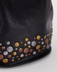 Stud detail shot of Mini Hammered Stud Bucket Bag in Black