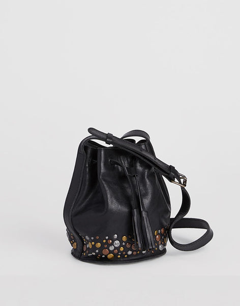Side shot of Mini Hammered Stud Bucket Bag in Black