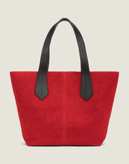 FRONT SHOT OF THE TAB TOTE IN RED SUEDE