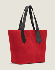 SIDE SHOT  OF THE TAB TOTE IN RED SUEDE
