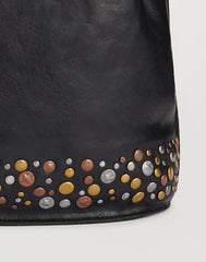 Detail of stud on Hammered Stud Bucket Bag in Black