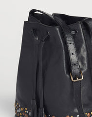 Detail side shot of Black Hammered Stud Bucket Bag