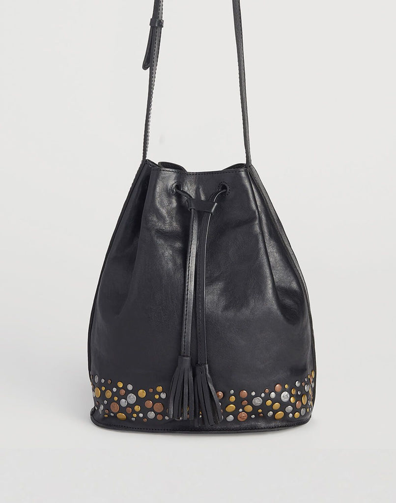 Front shot of Hammered Bucket Bag in Black