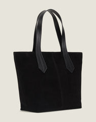 SIDE SHOT OF THE TAB TOTE IN BLACK SUEDE