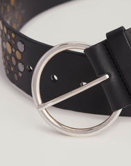Buckle detail shot of Hammered Stud Belt in Black