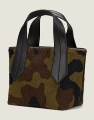 SIDE SHOT OF THE TAB TOTE MINI IN CAMO HAIR CALF