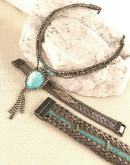 Handwoven Aventurine, Turquoise, Woven Pyrite, and Brass Necklace