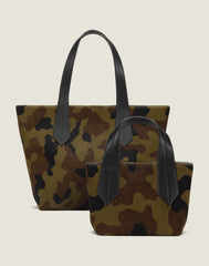 FRONT SHOT OF THE TAB TOTE IN CAMO HAIR CALF AND THE OF THE TAB TOTE  MINI IN CAMO HAIR CALF