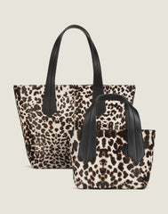 FRONT SHOT OF THE TAB TOTE MINI IN SNOW LEOPARD AND TAB TOTE IN SNOW LEOPARD