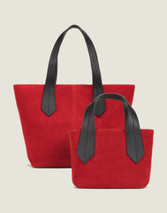 FRONT SHOT OF THE TAB TOTE MINI IN RED SUEDE AND THE TAB TOTE IN RED SUEDE