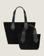 FRONT SHOT OF THE TAB TOTE MINI IN BLACK SUEDE AND OF THE TAB TOTE IN BLACK SUEDE