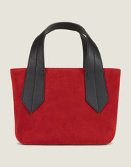 FRONT SHOT OF THE TAB TOTE MINI IN RED SUEDE