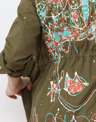 Detail shot of Handpainted Army Jacket