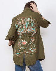 Back shot of Handpainted Army Jacket