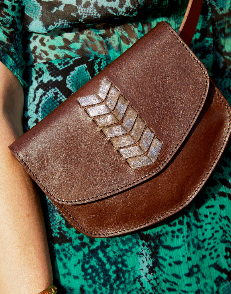 Close up of Laced Up Leather Belt Bag in Chocolate