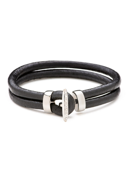 Front shot of Looped Leather Bangle